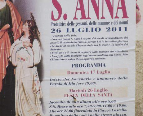 Il programma della festa di S. Anna 2011