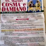Il programma della Festa in onore dei SS. Martiri Cosma e Damiano