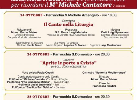 Una conferenza e due concerti per ricordare il Maestro Michele Cantatore, con la presenza di Marco Frisina