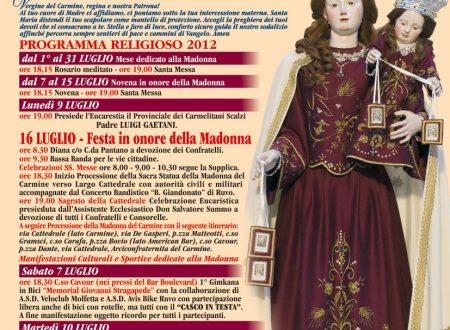 Solenni festeggiamenti in onore di Maria SS. del Carmelo. Programma della festa.