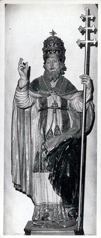Antico santino distribuito durante la festa del Santo (si noti lo stato della statua prima dell'ultimo restauro)