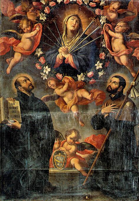 Nicola Gliri (1631-1687), Madonna dei sette dolori tra i santi Ignazio e Francesco Saverio.  (Tratta da F. Di Palo, Cielo e Terra, Terlizzi, 1999)