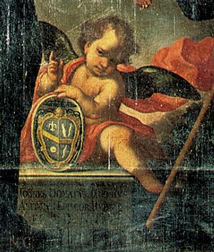 Stemma del vescovo Alitto (particolare del dipinto della Madonna dei sette Dolori)