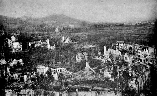 Vidor (Tv) quasi completamente distrutta durante la Prima Guerra Mondiale