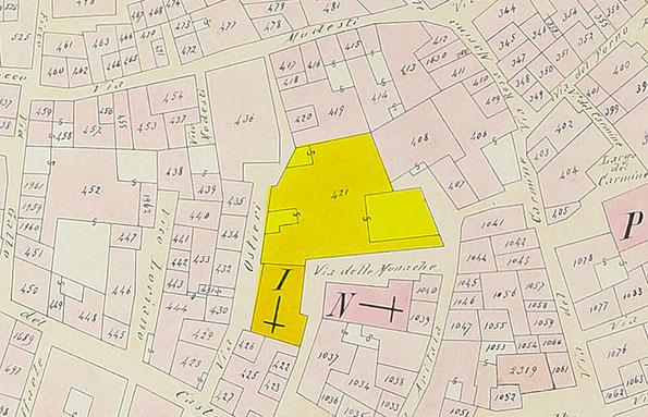 Particolare di un foglio di mappa catastale del 1874 in cui si vede l'area intorno al monastero benedettino (in giallo).
