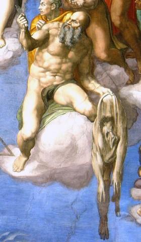 Michelangelo Buonarroti, San Bartolomeo scuoiato, nel Giudizio Universale della Cappella Sistina