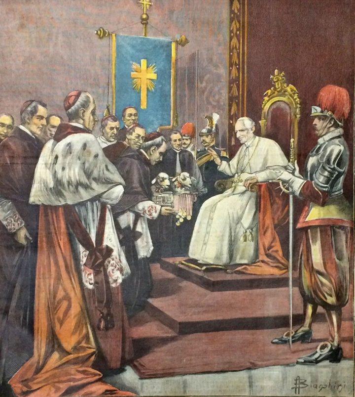 Presentazione di due agnelli al Papa Leone XIII (da La Tribuna Illustrata della Domenica, 29.01.1899)